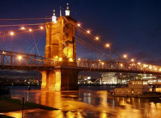 Bridge across the Ohio River at night.